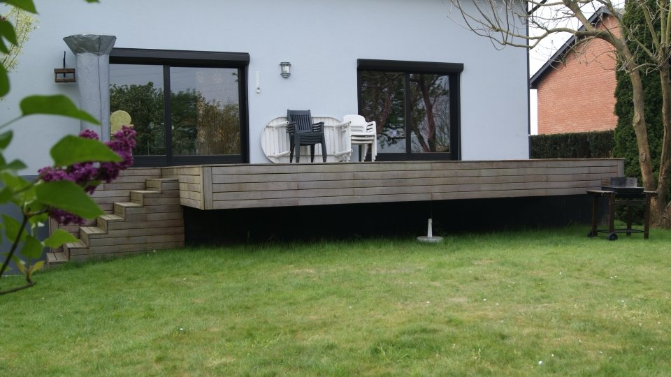 Agrandissement terrasse existante, fixation invisible Softline